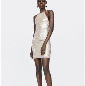Zara silver sequin round neck mini dress